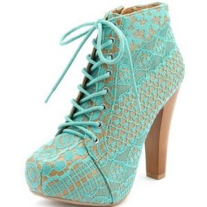 Charlotte Russe Qupid Lace Booties in Teal